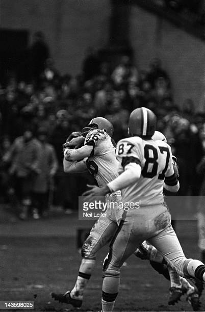 NFL Championship Cleveland Browns Gary Collins in action making catch vs Baltimore Colts at Cleveland Municipal Stadium Sequence Collins catches...
