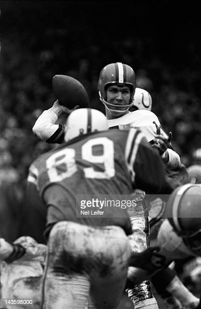 NFL Championship Cleveland Browns QB Frank Ryan in action making pass vs Baltimore Colts Gino Marchetti at Cleveland Municipal Stadium Cover...