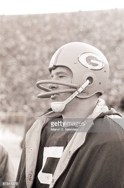 Football NFL championship Closeup of Green Bay Packers Paul Hornung during game vs New York Giants Green Bay WI