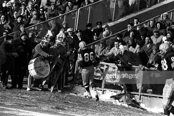 NFL Championship Green Bay Packers Boyd Dowler at back of endzone after scoring touchdown during game vs New York Giants game at City Stadium View of...