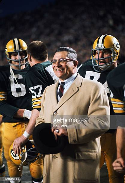 NFL Championship Green Bay Packers head coach Vince Lombardi victorious on sidelines during game vs Dallas Cowboys at Cotton Bowl Stadium Dallas TX...