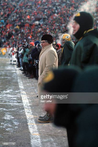 NFL Championship Green Bay Packers head coach Vince Lombardi on sidelines during Ice Bowl game vs Dallas Cowboys at Lambeau Field The official...