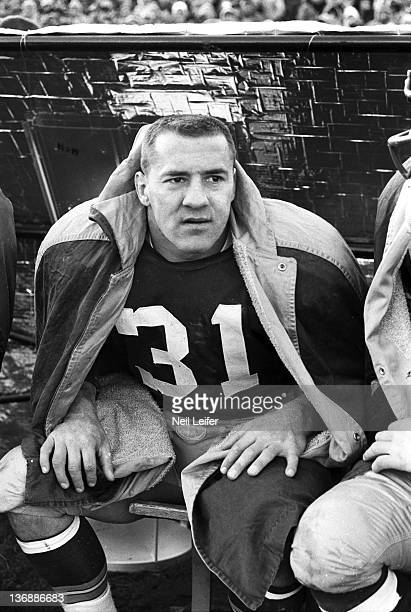 Football NFL Championship Green Bay Packers Jim Taylor on sidelines during game vs New York Giants at City Stadium Green Bay WI CREDIT Neil Leifer