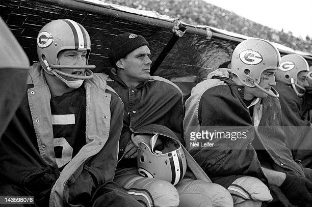 NFL Championship Green Bay Packers Paul Hornung and Gary Knafelc on sidelines during game vs New York Giants at City Stadium Green Bay WI CREDIT Neil...