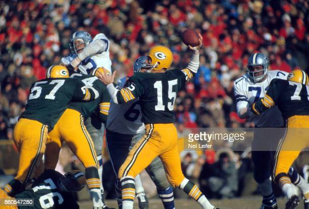 NFL Championship Green Bay Packers QB Bart Starr in action passing vs Dallas Cowboys at Lambeau Field The Ice Bowl Green Bay WI CREDIT Neil Leifer