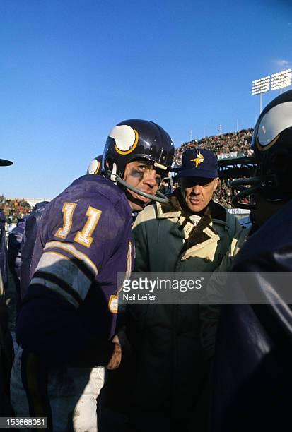 NFL Championship Minnesota Vikings QB Joe Kapp and head coach Bud Grant during game vs Cleveland Browns at Metropolitan Stadium Bloomington MN CREDIT...