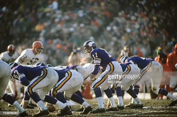 NFL Championship Minnesota Vikings QB Joe Kapp at line of scrimmage during game vs Cleveland Browns at Metropolitan Stadium Bloomington MN CREDIT...