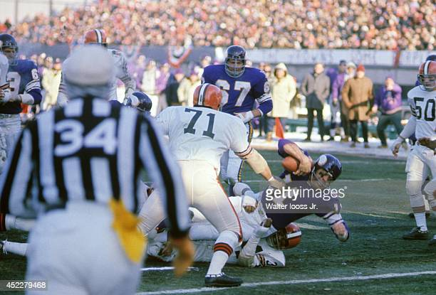 NFL Championship Minnesota Vikings QB Joe Kapp in action rushing for touchdown vs Cleveland Browns Walter Johnson at Metropolitan Stadium Sequence...