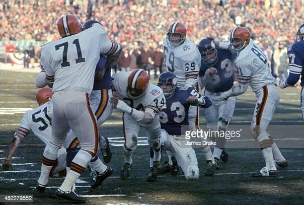 NFL Championship Minnesota Vikings QB Joe Kapp in action rushing for touchdown vs Cleveland Browns Walter Johnson at Metropolitan Stadium Bloomington...