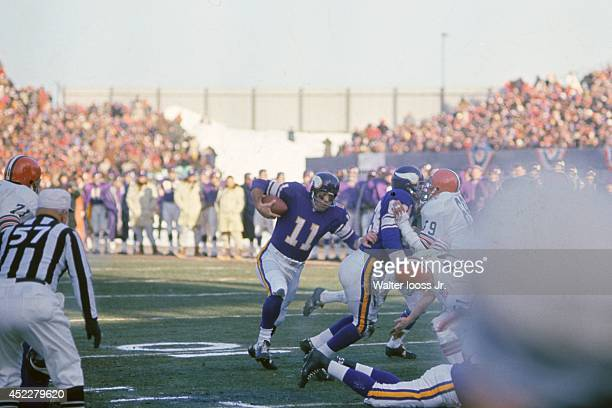 NFL Championship Minnesota Vikings QB Joe Kapp in action rushing for touchdown vs Cleveland Browns at Metropolitan Stadium Sequence Bloomington MN...