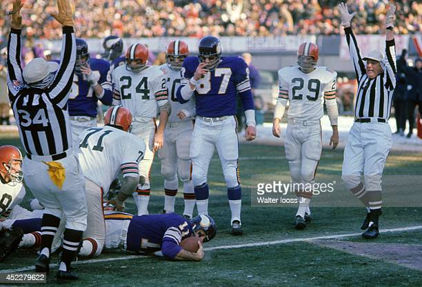 NFL Championship Minnesota Vikings QB Joe Kapp in endzone after rushing for touchdown vs Cleveland Browns at Metropolitan Stadium Sequence...
