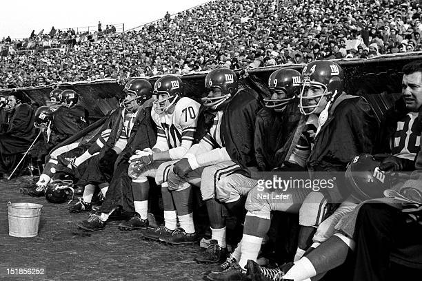 NFL Championship New York Giants defense Dick Modzelewski Sam Huff Rosey Grier and Erich Barnes on sidelines during game vs Green Bay Packers at City...