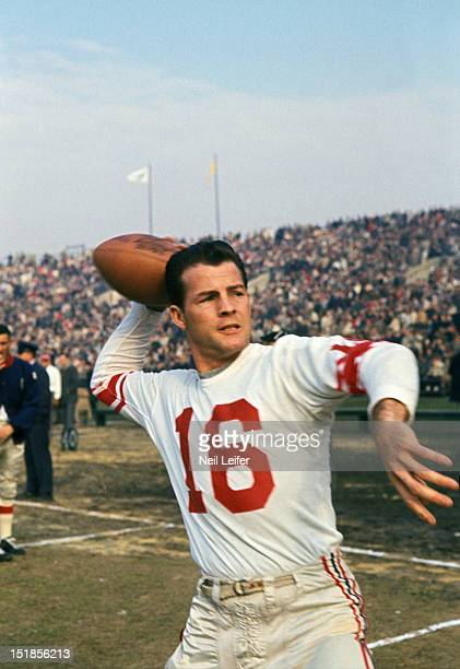 NFL Championship New York Giants Frank Gifford throwing ball before game vs Baltimore Colts at Memorial Stadium Baltimore MD CREDIT Neil Leifer