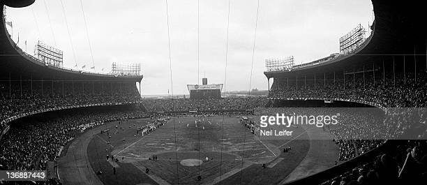 Football NFL Championship Panoramic overall view of Cleveland Municipal Stadium during Cleveland Browns vs Baltimore Colts game Cleveland OH CREDIT...