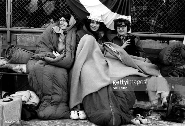 NFL Championship View of female fans with blankets and sleeping bags during Green Bay Packers vs New York Giants game at City Stadium Green Bay WI...