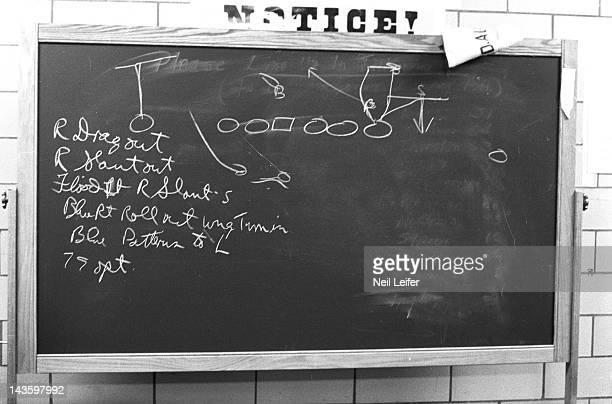 NFL Championship View of plays written on blackboard in Green Bay Packers locker room after game vs New York Giants at Yankee Stadium Bronx NY CREDIT...