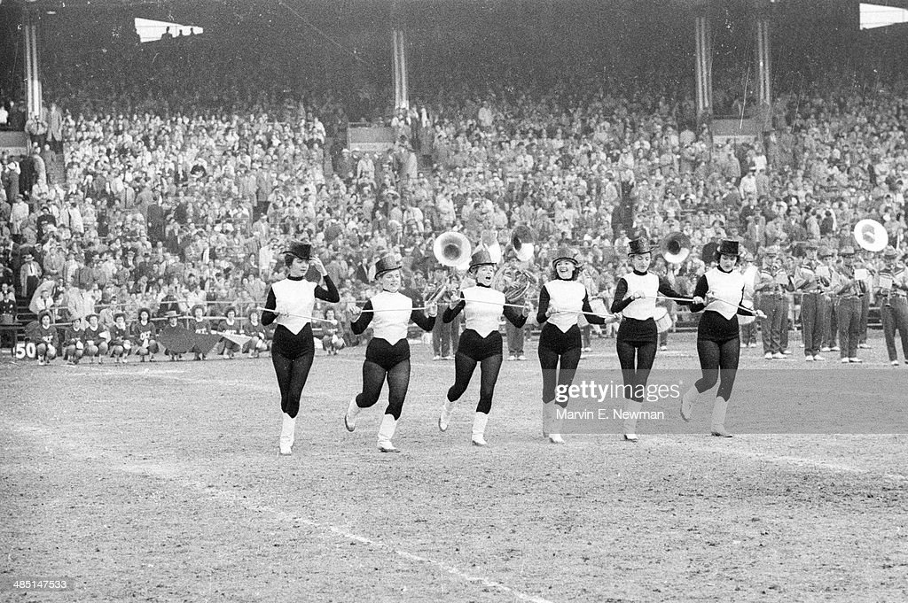 View of twirlers during Baltimore Colts vs New York Giants game at Memorial Stadium. Marvin E. Newman TK1 )