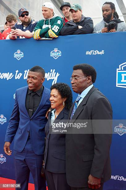 NFL Draft Atlanta Falcons safety and No 17 overall pick Keanu Neal with his parents during selection process at Auditorium Theatre of Roosevelt...