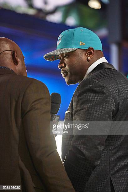 NFL Draft Closeup of Miami Dolphins offensive tackle and No 13 overall pick Laremy Tunsil on stage during selection process at Auditorium Theatre of...