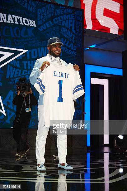 NFL Draft Dallas Cowboys running back and No 4 overall pick Ezekiel Elliott on stage during selection process at Auditorium Theatre of Roosevelt...