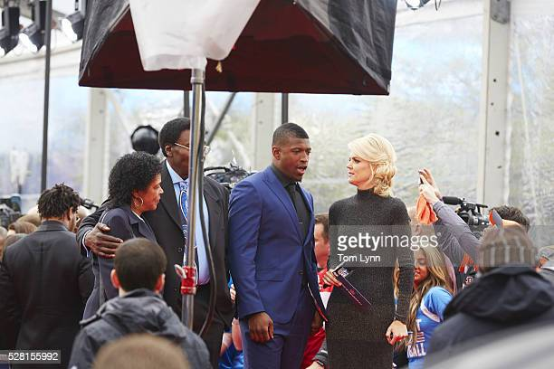 NFL Draft Former Florida safety Keanu Neal on red carpet with NFL Network reporter Melissa Stark on red carpet before selection process at Auditorium...