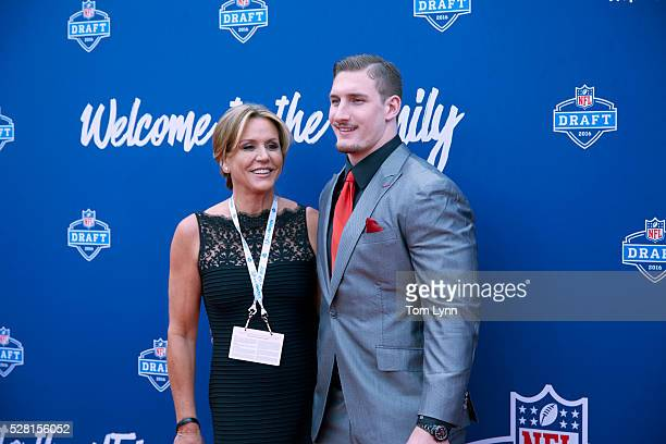 NFL Draft Former Ohio State defensive end Joey Bosa with mother Cheryl on red carpet before selection process at Auditorium Theatre of Roosevelt...