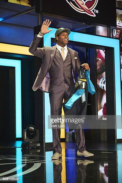 NFL Draft Jacksonville Jaguars cornerback and No 5 overall pick Jalen Ramsey on stage during selection process at Auditorium Theatre of Roosevelt...