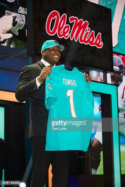 NFL Draft Miami Dolphins offensive tackle and No 13 overall pick Laremy Tunsil on stage during selection process at Auditorium Theatre of Roosevelt...