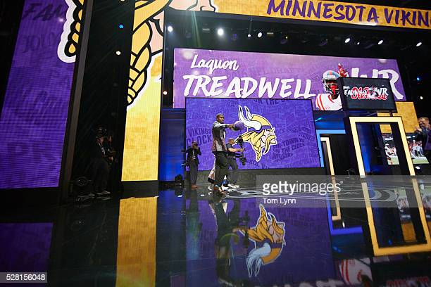 NFL Draft Minnesota Vikings wide receiver and No 23 overall pick Laquon Treadwell on stage during selection process at Auditorium Theatre of...
