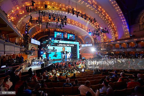 NFL Draft Overall view of stage as Carolina Panthers defensive tackle and No 30 overall pick Vernon Butler during selection process at Auditorium...