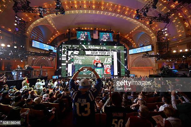 NFL Draft Overall view of stage as New York Jets linebacker and No 20 overall pick Darron Lee during selection process at Auditorium Theatre of...
