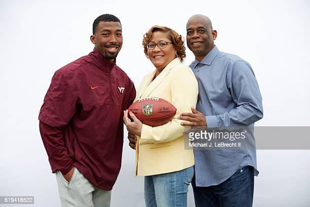 NFL Draft Portrait of former Virginia Tech defensive back Kendall Fuller posing with his parents Vincent Fuller and Nina DorseyFuller during photo...