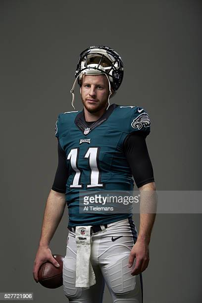 NFL Draft Portrait of Philadelphia Eagles QB and No 2 overall pick Carson Wentz during photo shoot at NovaCare Complex Philadelphia PA CREDIT Al...