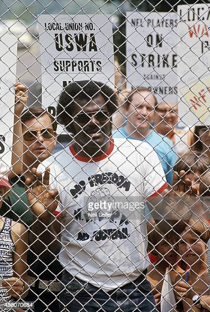 NFL Hall of Fame Game View of NFL Players Association member on strike during lockout outside of Fawcett Stadium Canton OH CREDIT Neil Leifer
