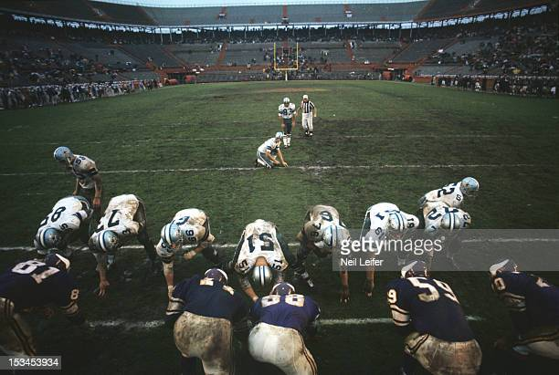 NFL Playoff Bowl Dallas Cowboys Mike Clark lined up to kick field goal during game vs Minnesota Vikings at the Orange Bowl Stadium Camera mounted on...