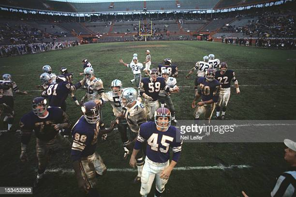 NFL Playoff Bowl Dallas Cowboys Mike Clark victorious with teammates after making field goal kick vs Minnesota Vikings at the Orange Bowl Stadium...
