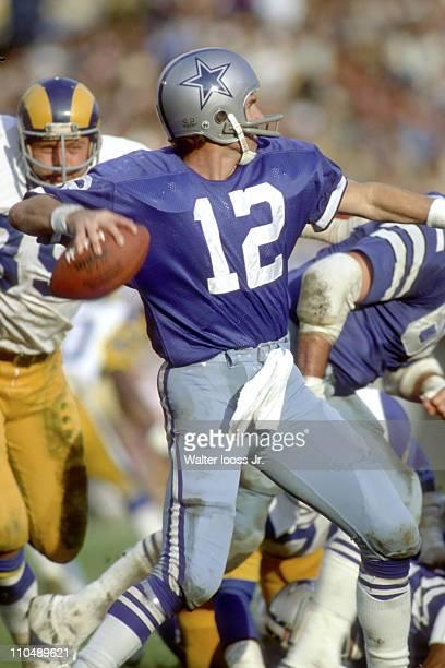 NFL Playoffs Dallas Cowboys QB Roger Staubach in action vs Los Angeles Rams at Los Angeles Memorial Coliseum Los Angeles CA 1/7/1979CREDIT Walter...