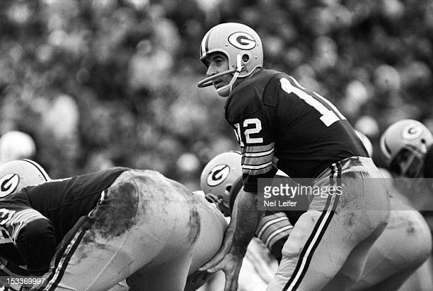 NFL Playoffs Green Bay Packers QB Zeke Bratkowski at line of scrimmage during game vs Baltimore Colts at Lambeau Field Green Bay WI CREDIT Neil Leifer