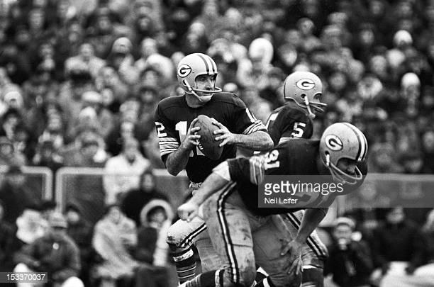 NFL Playoffs Green Bay Packers QB Zeke Bratkowski in action vs Baltimore Colts at Lambeau Field Green Bay WI CREDIT Neil Leifer
