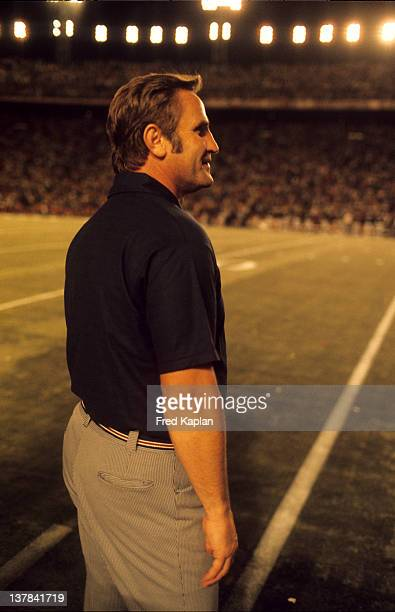 NFL Playoffs Miami Dolphins coach Don Shula on sidelines during game vs Oakland Raiders at Miami Orange Bowl Miami FL CREDIT Fred Kaplan