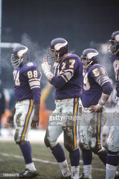 NFL Playoffs Minnesota Vikings Gary Larsen on field during game vs Los Angeles Rams at Metropolitan Stadium Bloomington MN CREDIT Neil Leifer