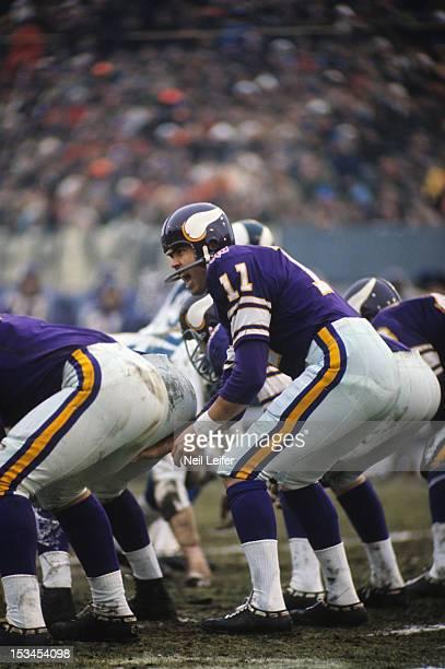 NFL Playoffs Minnesota Vikings QB Joe Kapp at line of scrimmage during game vs Los Angeles Rams at Metropolitan Stadium Bloomington MN CREDIT Neil...