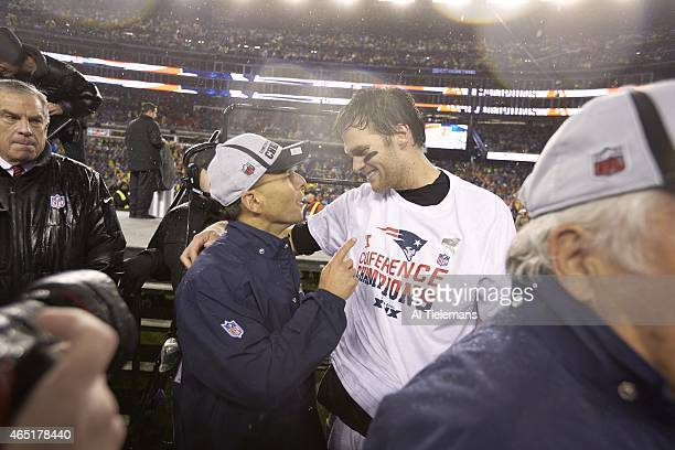 NFL Playoffs New England Patriots QB Tom Brady victorious with president Jonathan Kraft after winning game vs Indianapolis Colts game at Gillette...