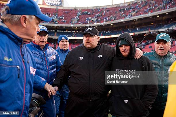 NFL Playoffs Philadelphia Eagles coach Andy Reid victorious walking off field with son Britt Reid after winning game vs New York Giants at Giants...
