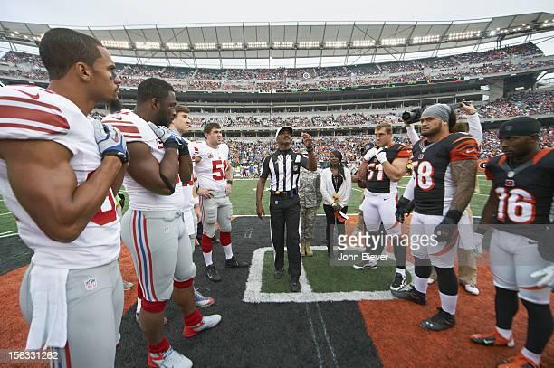 Referee Mike Carey during coin toss before Cincinnati Bengals vs New York Giants game at Paul Brown Stadium. Cincinnati, OH CREDIT: John Biever