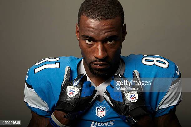 NFL Season Preview Closeup portrait of Detroit Lions wide receiver Calvin Johnson during photo shoot at Lions Headquarters Training Facility Allen...