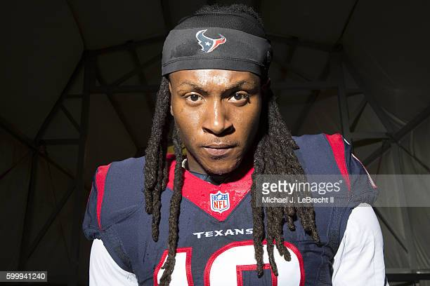 NFL Season Preview Closeup portrait of Houston Texans wide receiver DeAndre Hopkins posing during photo shoot at Houston Texans Practice Facility...
