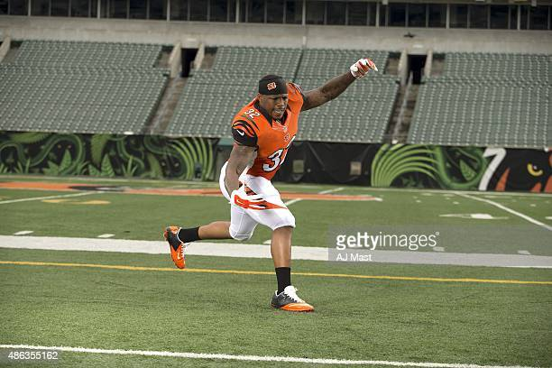 NFL Season Preview Portrait of Cincinnati Bengals running back Jeremy Hill during photo shoot at Paul Brown Stadium Hill posing as a linebacker...