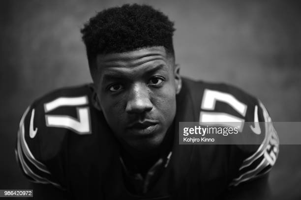 NFLPA Rookie Premiere Closeup portrait of Chicago Bears wide receiver Anthony Miller posing during photo shoot at California Lutheran University...
