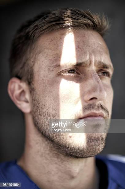 NFLPA Rookie Premiere Closeup portrait of New York Giants QB Kyle Lauletta posing during photo shoot at California Lutheran University Thousand Oaks...